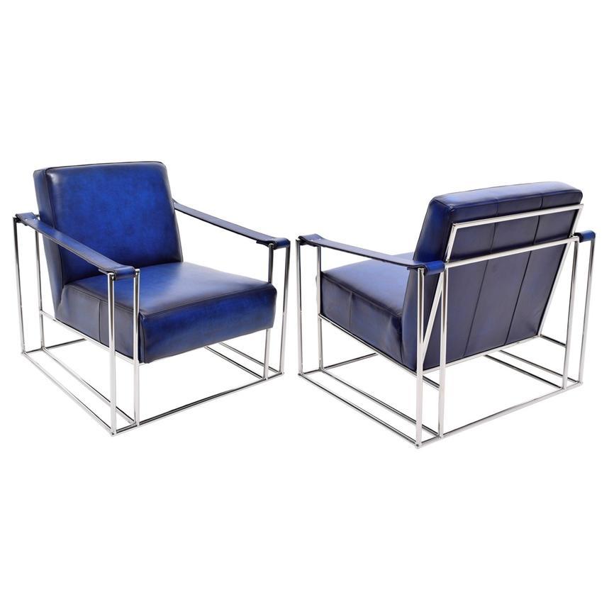 Miranda Blue Ii Leather Accent Chair El Dorado Furniture