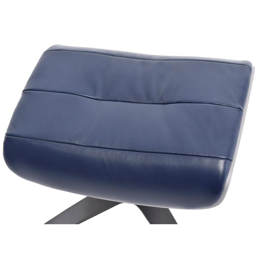 Enzo Dark Blue Leather Ottoman  alternate image, 3 of 6 images.