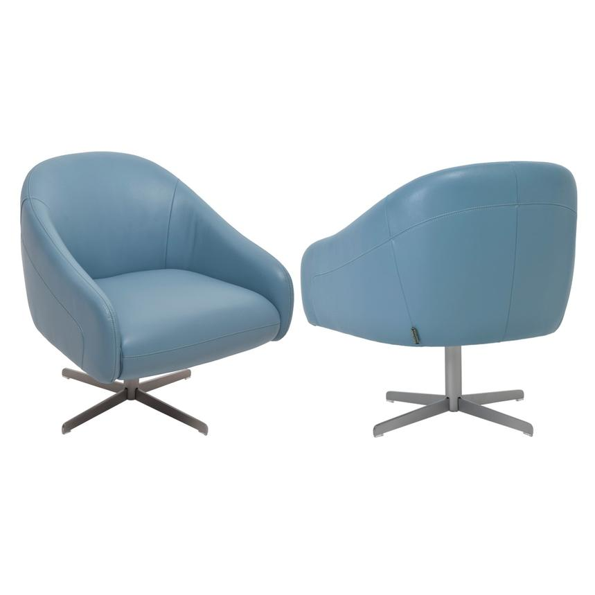 Beau Brookville Blue Leather Swivel Chair Alternate Image, 3 Of 7 Images.