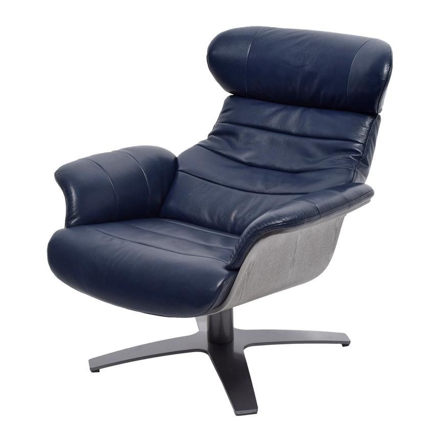 Merveilleux Enzo Dark Blue Leather Swivel Chair Alternate Image, 3 Of 11 Images.