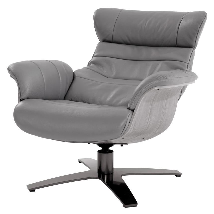 Enzo Gray Leather Swivel Chair Alternate Image, 2 Of 10 Images.