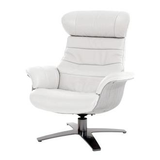 Enzo Pure White Leather Swivel Chair