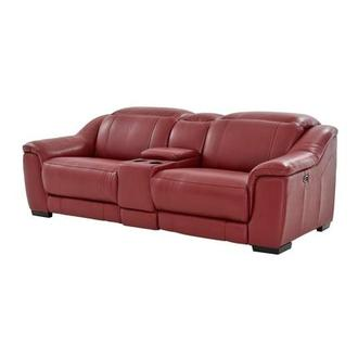 Davis Red Power Motion Leather Sofa w/Console