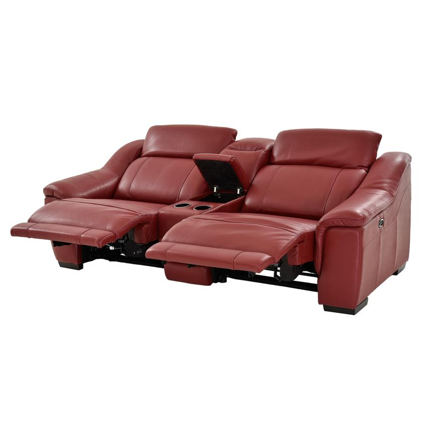 Davis Red Power Motion Leather Sofa w/Console  alternate image, 2 of 13 images.