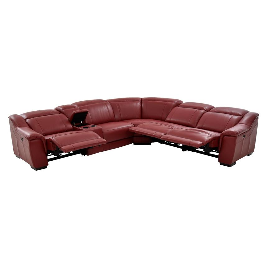 Davis Red Power Motion Leather Sofa w/Right & Left Recliners  alternate image, 2 of 13 images.