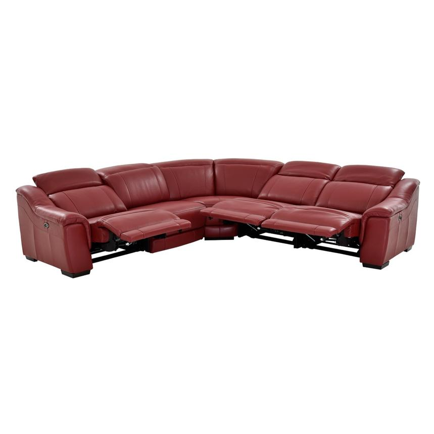 Davis Red Power Motion Leather Sofa w/Right & Left Recliners  alternate image, 2 of 12 images.