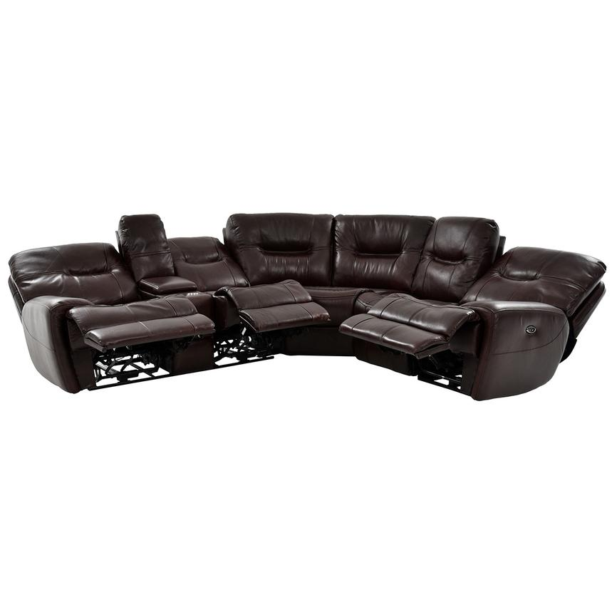 Houston Brown Power Motion Leather Sofa W/Console Alternate Image, 2 Of 10  Images