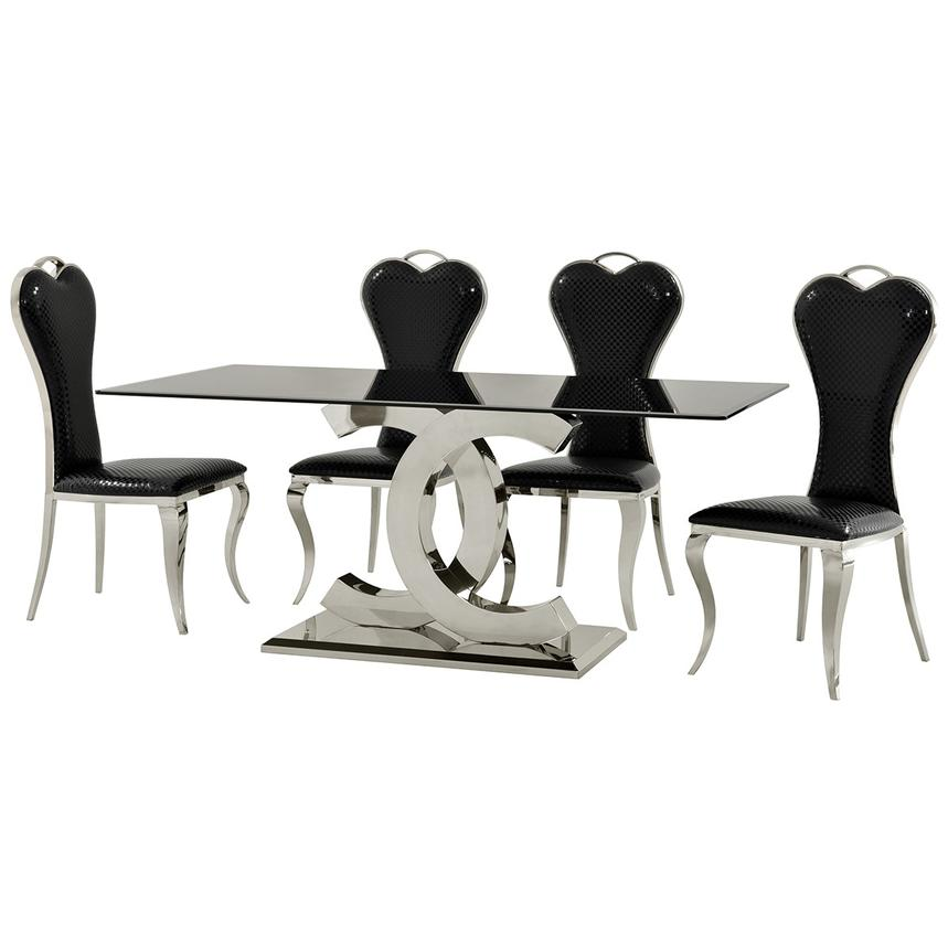 Otti Black 5-Piece Formal Dining Set  alternate image, 2 of 11 images.