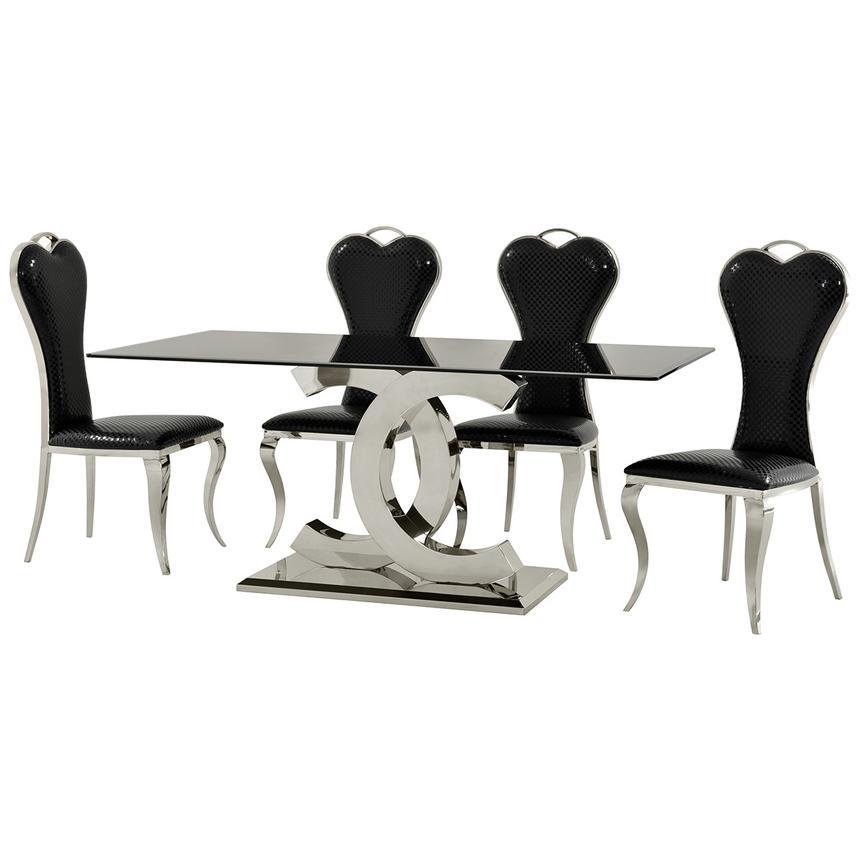 Otti Black 5 Piece Formal Dining Set Alternate Image, 2 Of 12 Images.