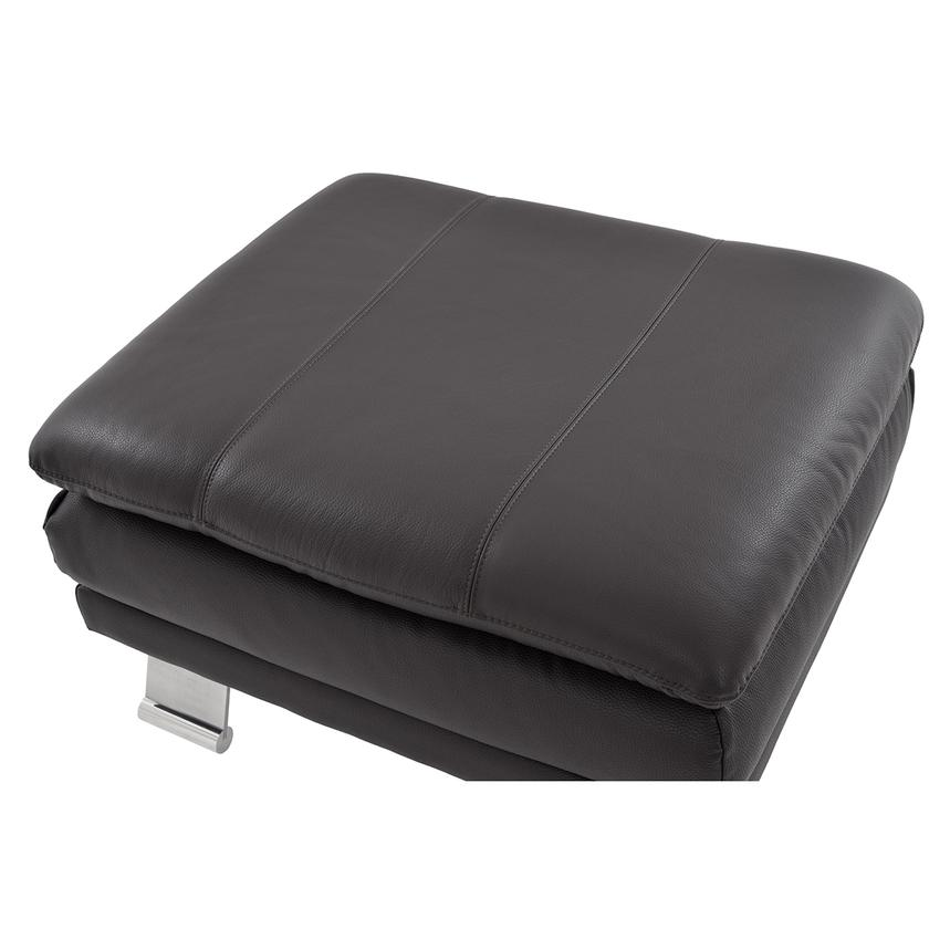 Rio Dark Gray Leather Ottoman  alternate image, 3 of 5 images.