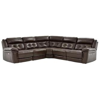 Stallion Brown Power Motion Leather Sofa w/Right & Left Recliners