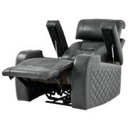 Gio Gray Power Motion Leather Recliner  alternate image, 2 of 11 images.