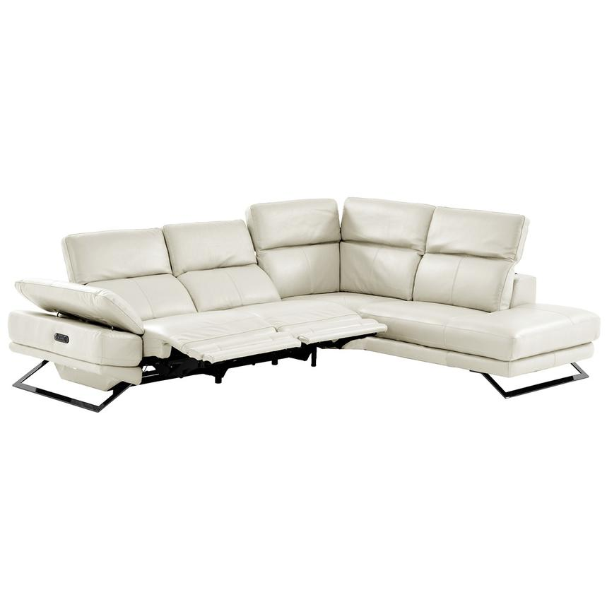 Toronto White Power Motion Leather Sofa w/Right Chaise  alternate image, 2 of 11 images.