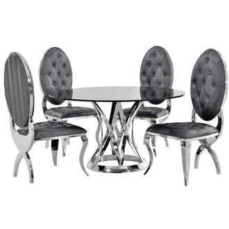 Janet Marble/Charlotte 5-Piece Formal Dining Set
