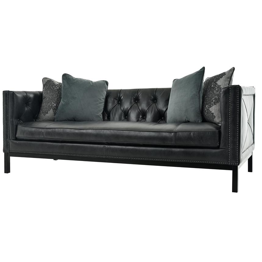 Sophia Black Leather Sofa  alternate image, 3 of 7 images.
