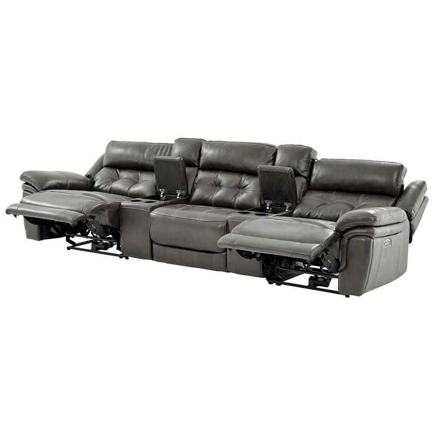 Stallion Gray Home Theater Leather Seating  alternate image, 3 of 9 images.