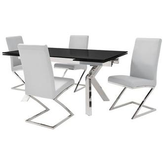 Ella Black/Jade White 5-Piece Formal Dining Set