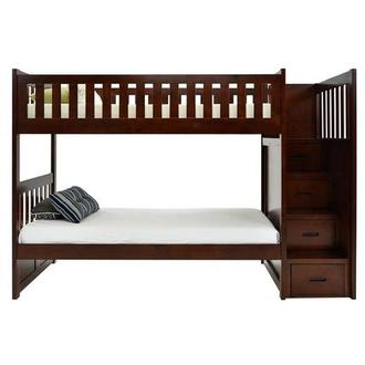 Balto Brown Twin Over Twin Bunk Bed w/Storage