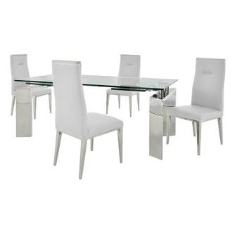 Melsar/Hyde White 5-Piece Formal Dining Set