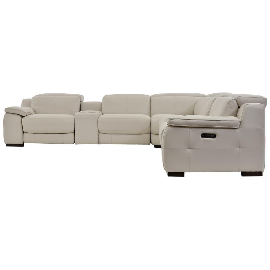 Gian Marco Cream Power Motion Leather Sofa w/Right & Left Recliners  alternate image, 3 of 7 images.