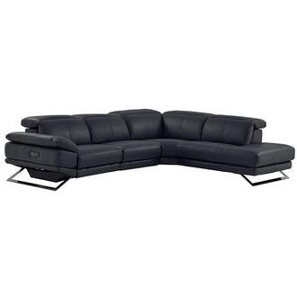 Toronto Dark Gray Power Motion Leather Sofa w/Right Chaise