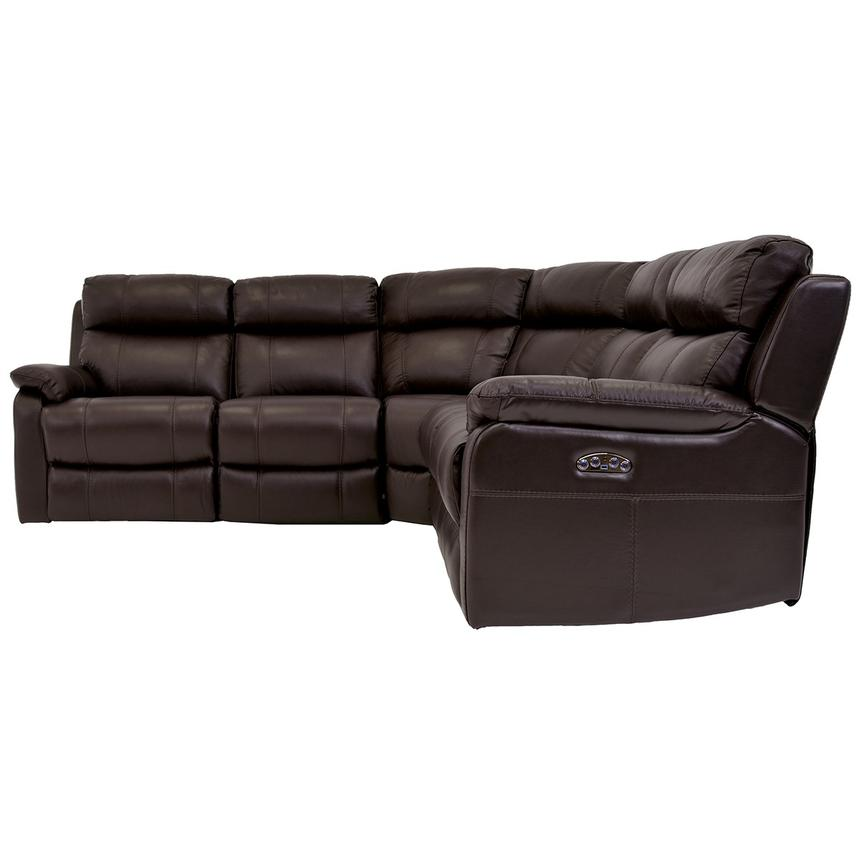 Ronald Brown Power Motion Leather Sofa w/Right & Left Recliners  alternate image, 3 of 6 images.