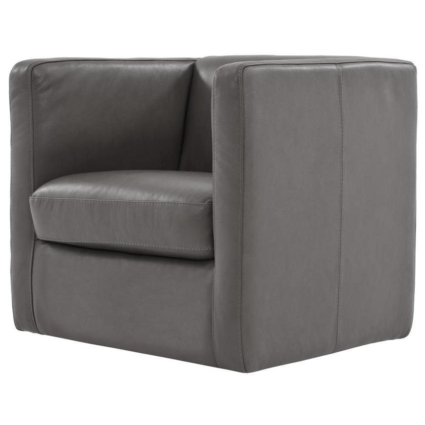 Cute Light Gray Leather Swivel Chair  alternate image, 2 of 6 images.