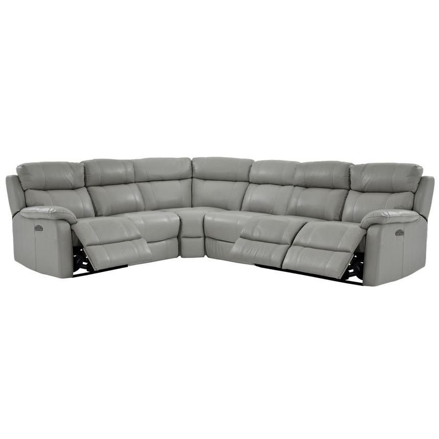 Ronald Gray Power Motion Leather Sofa w/Right & Left Recliners  alternate image, 2 of 5 images.