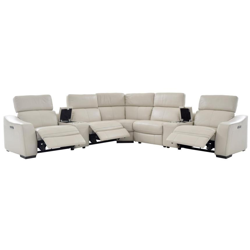 Jay Cream Power Motion Leather Sofa w/Right & Left Recliners  alternate image, 2 of 8 images.