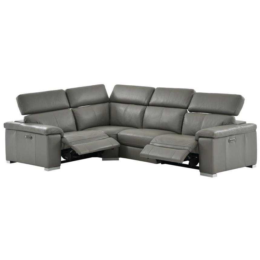 Charlie Gray Power Motion Leather Sofa w/Right & Left Recliners  alternate image, 2 of 10 images.
