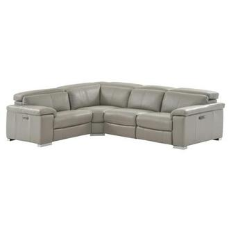 Charlie Light Gray Power Motion Leather Sofa w/Right & Left Recliners