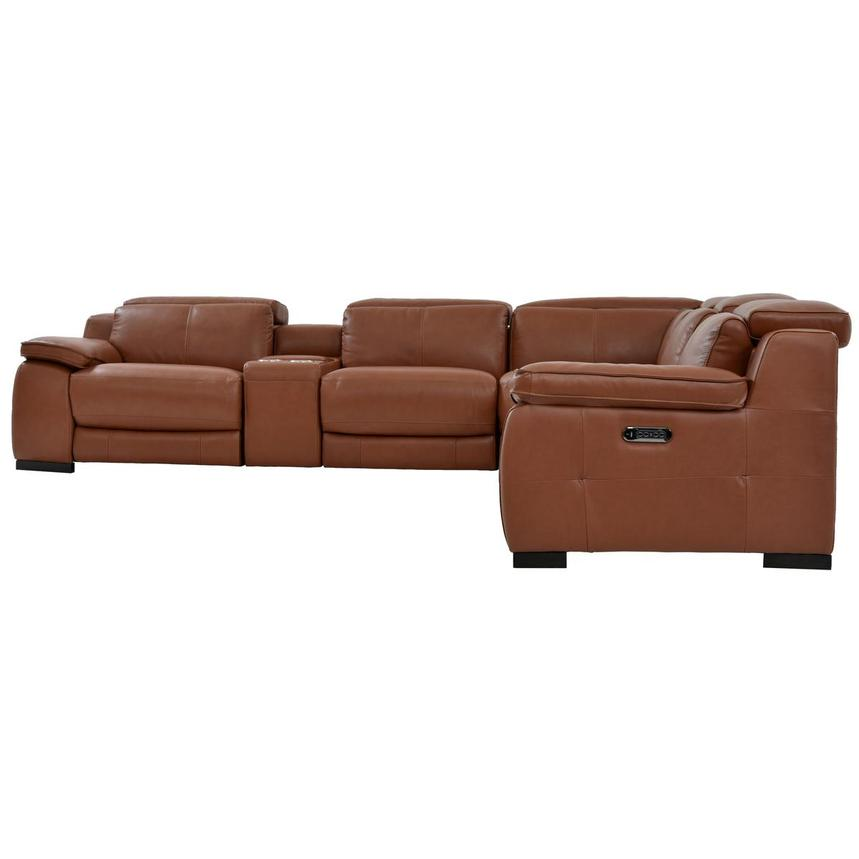 Gian Marco Tan Power Motion Leather Sofa w/Right & Left Recliners  alternate image, 3 of 8 images.