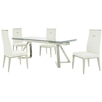 Suri/Hyde White 5-Piece Formal Dining Set