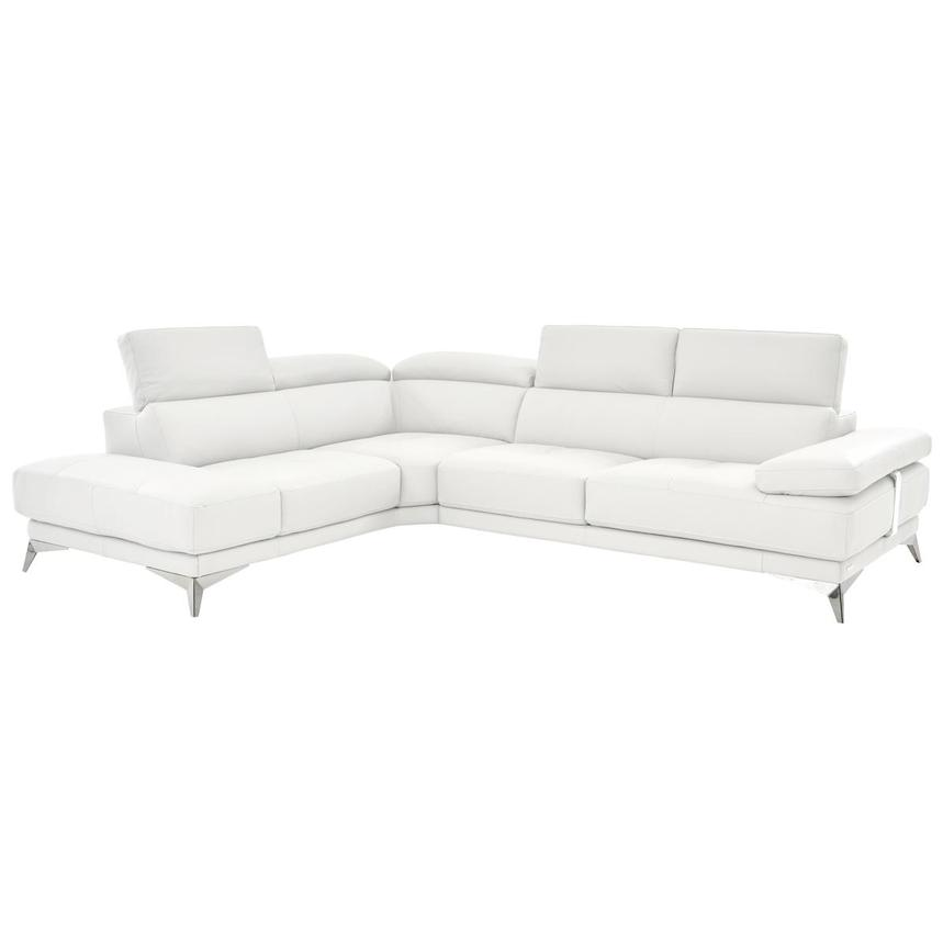 Winner White Leather Sofa w/Left Chaise  alternate image, 2 of 6 images.