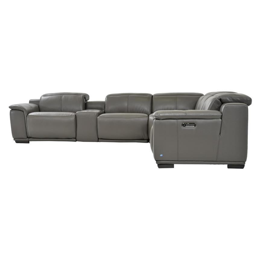 Davis 2.0 Gray Power Motion Leather Sofa w/Right & Left Recliners  alternate image, 3 of 7 images.