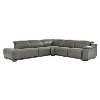 Davis 2.0 Gray Power Motion Leather Sofa w/Left Chaise