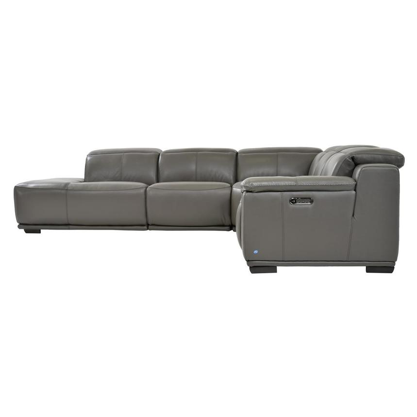 Davis 2.0 Gray Power Motion Leather Sofa w/Left Chaise  alternate image, 3 of 6 images.