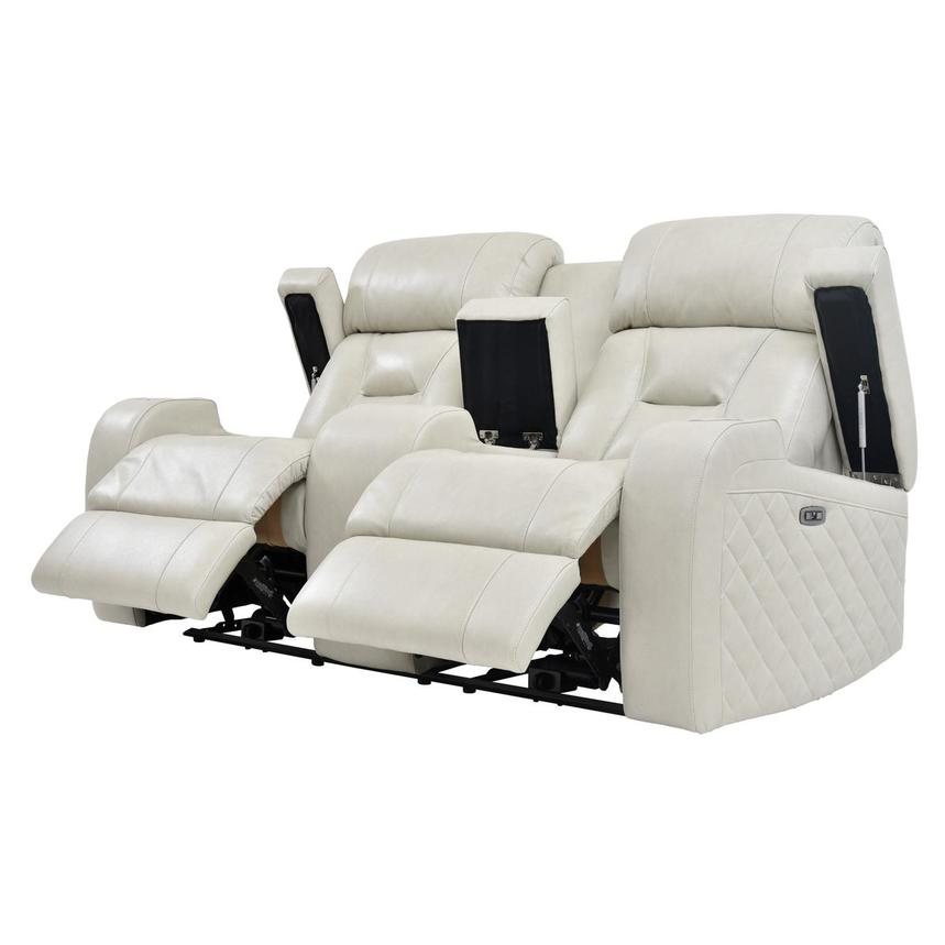 Gio Cream Power Motion Leather Sofa w/Console  alternate image, 3 of 10 images.