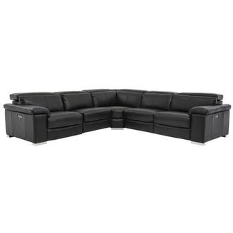 Charlie Black Power Motion Leather Sofa w/Right & Left Recliners