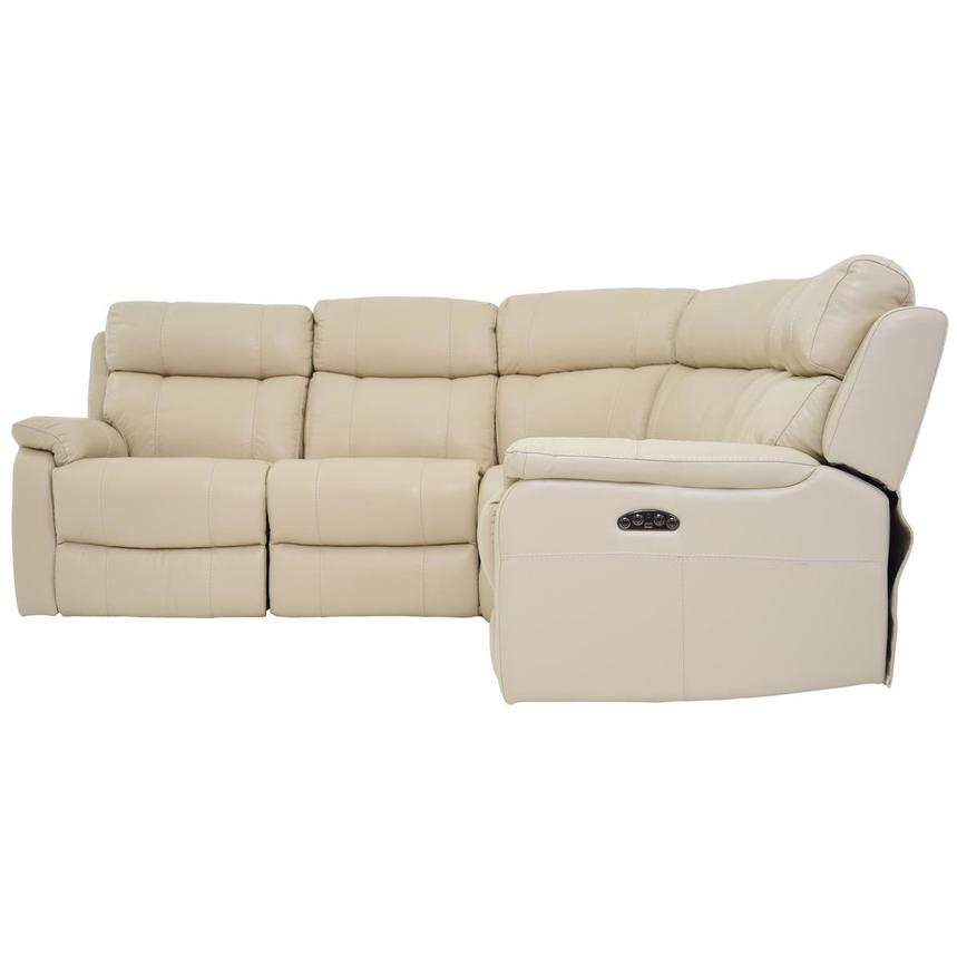 Ronald Cream Power Motion Leather Sofa w/Right & Left Recliners  alternate image, 3 of 6 images.