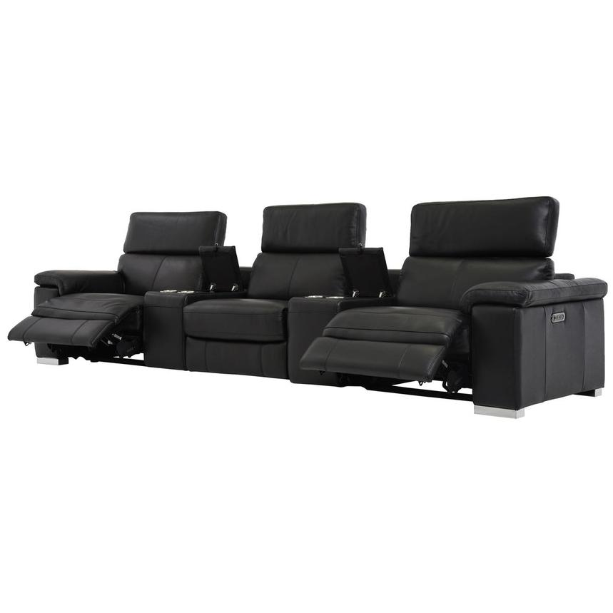 Charlie Black Home Theater Leather Seating  alternate image, 3 of 9 images.