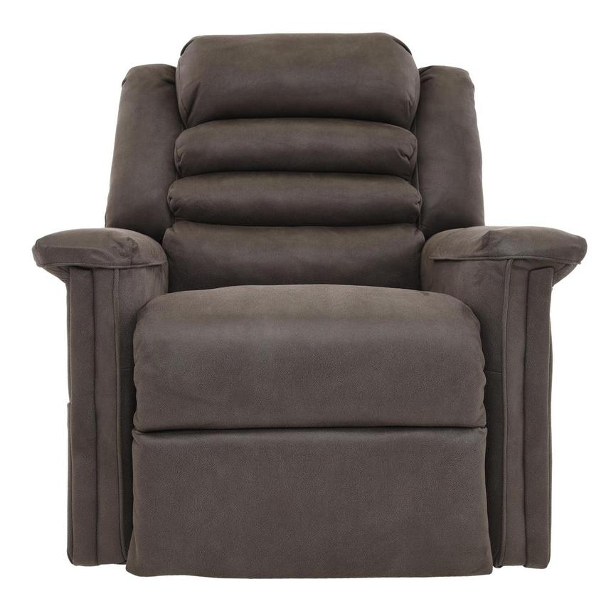 Soother Gray Power-Lift Leather Recliner  alternate image, 2 of 8 images.