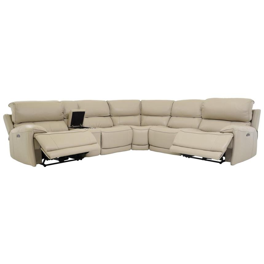 Cody Cream Power Motion Leather Sofa w/Right & Left Recliners  alternate image, 2 of 7 images.