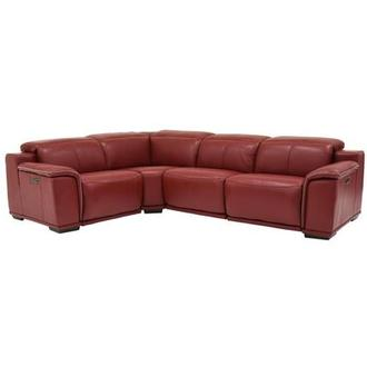 Davis 2.0 Red Power Motion Leather Sofa w/Right & Left Recliners