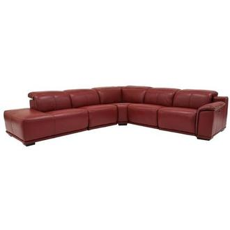 Davis 2.0 Red Power Motion Leather Sofa w/Left Chaise