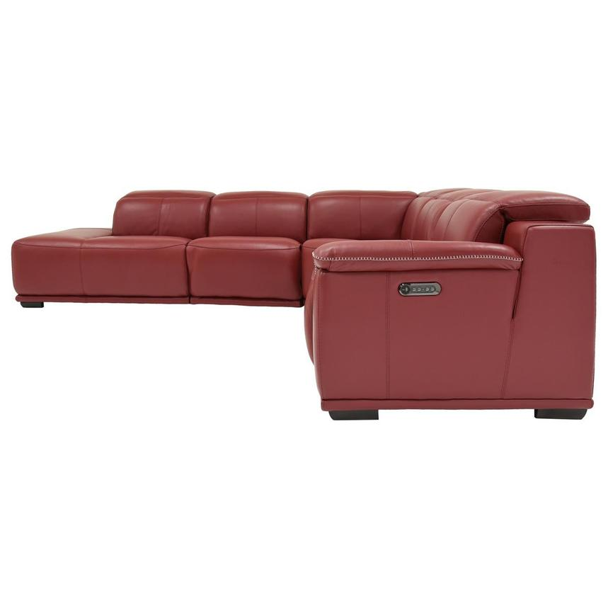 Davis 2.0 Red Power Motion Leather Sofa w/Left Chaise  alternate image, 3 of 6 images.