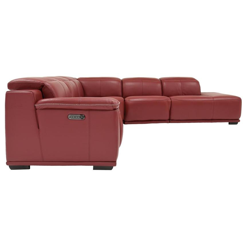 Davis 2.0 Red Power Motion Leather Sofa w/Right Chaise  alternate image, 3 of 6 images.