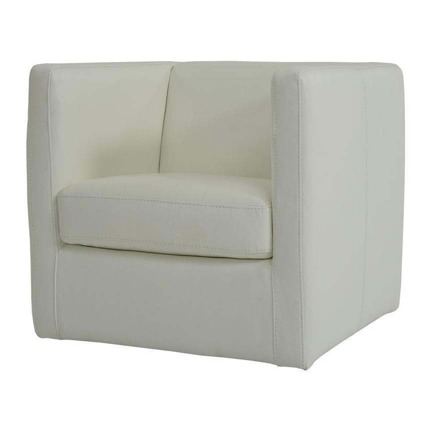 Cute White Leather Swivel Chair  alternate image, 2 of 4 images.