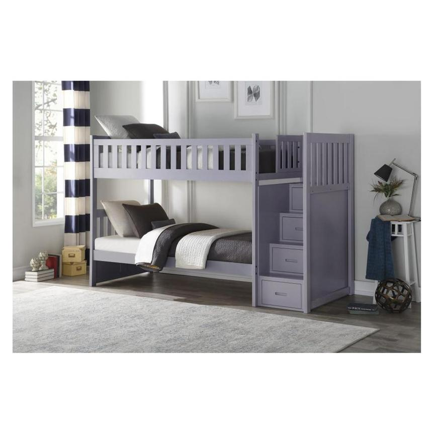 Balto Gray Twin Over Twin Bunk Bed w/Storage  alternate image, 2 of 7 images.
