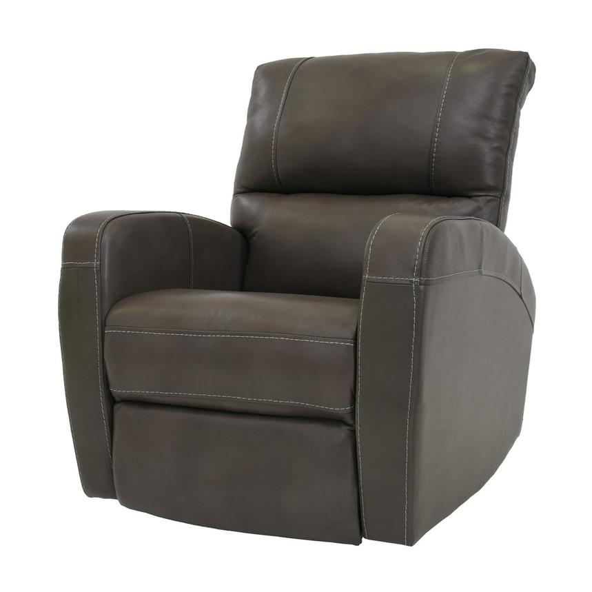 Keegan Gray Power Motion Leather Recliner  alternate image, 2 of 7 images.